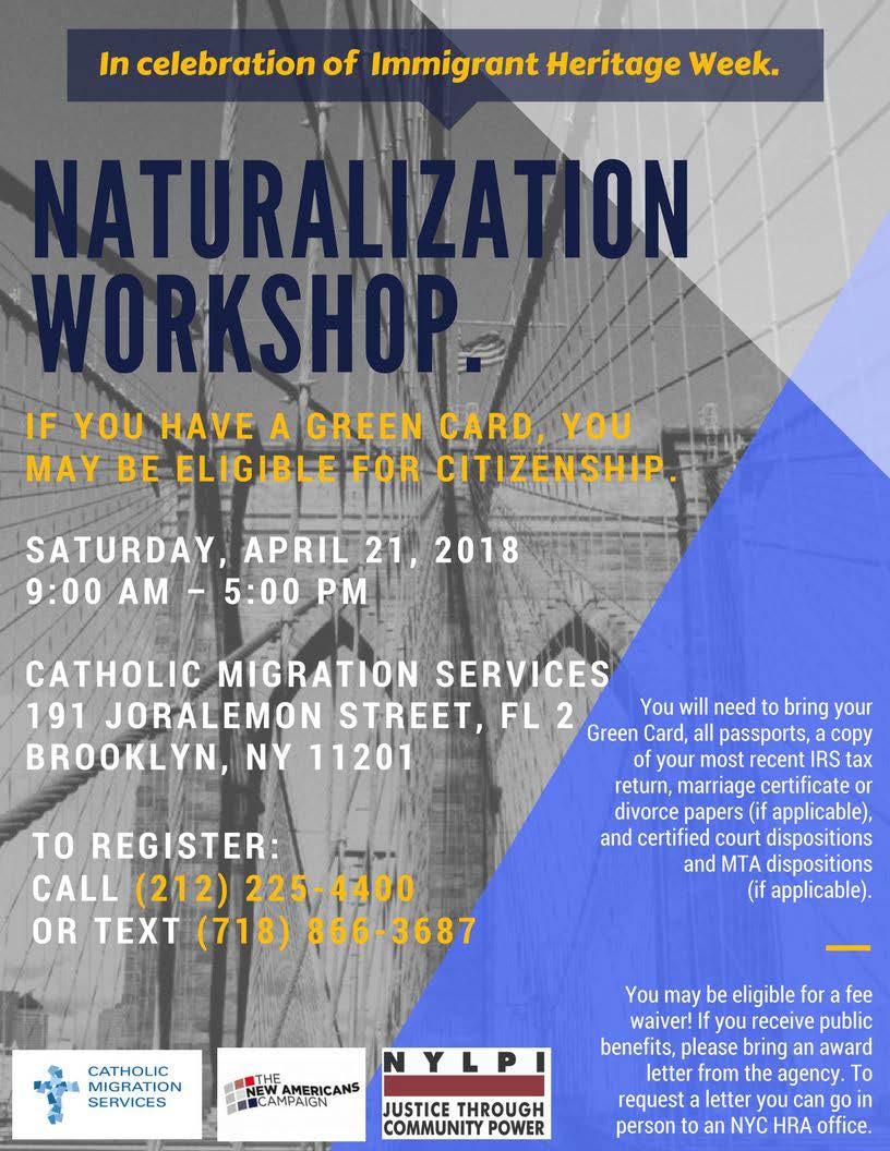 free naturalization workshop April 21, 2018