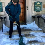 Bishop Sanchez-shoveling