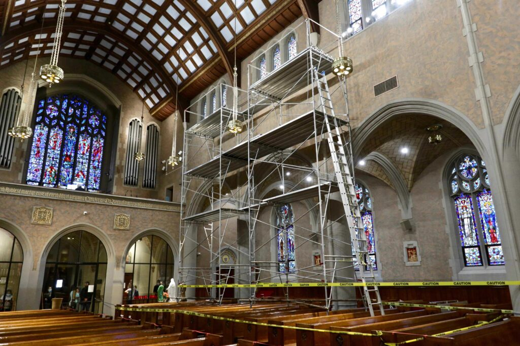 upper nave wall restoration