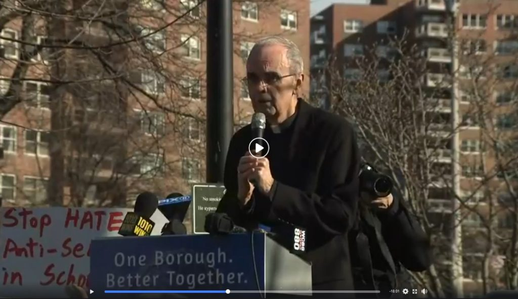 Bishop Sanchez at the Forest Hills Anti-Semitism rally, 1/12/20