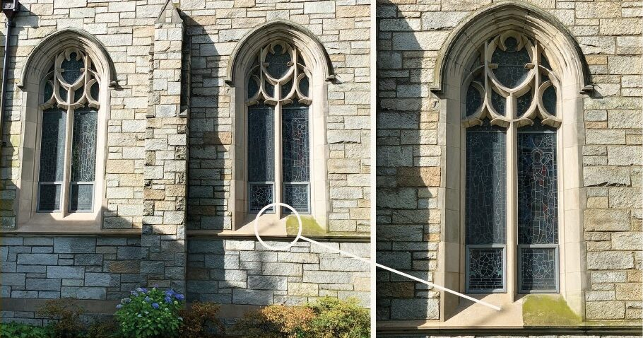 Power washing the church exterior