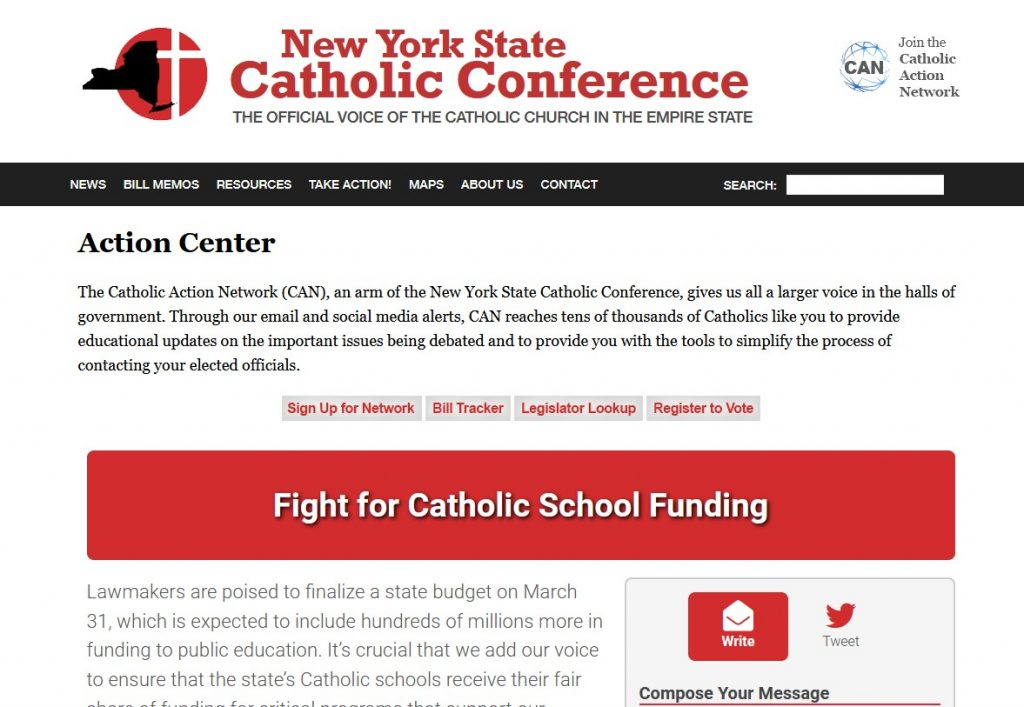 Click for the NY State Catholic Conference Action Center