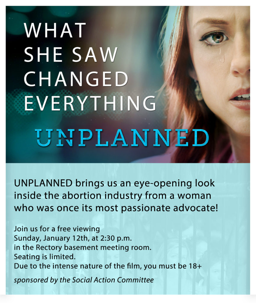 """Poster for the movie """"Unplanned""""-with free viewing in the OLQM rectory on January 12th"""