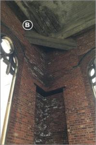 water damage below copper roof